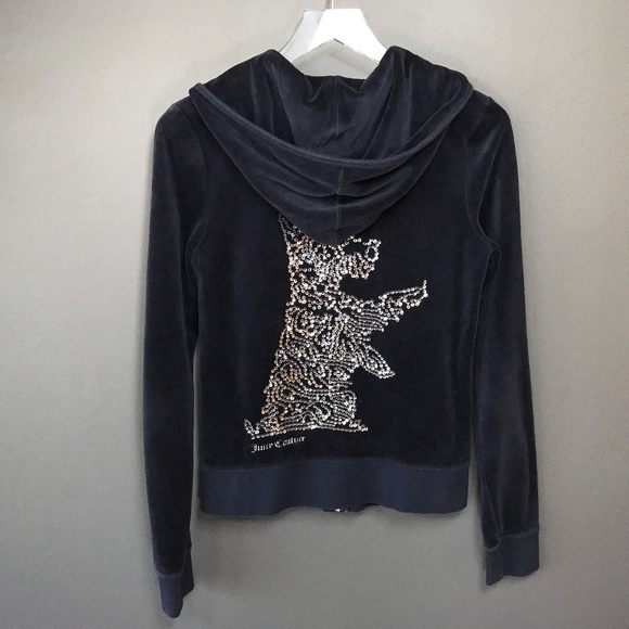 Juicy Couture Tops - Juicy Couture Sequin Scottie Dog Velour Hoodie